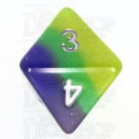 TDSO Layer Blue Green & Yellow Glitter D8 Dice
