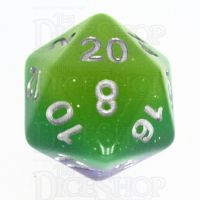TDSO Layer Blue Green & Yellow Glitter D20 Dice
