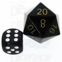 TDSO Obsidian Black with Engraved Gold Numbers JUMBO 30mm Precious Gem D20 Dice