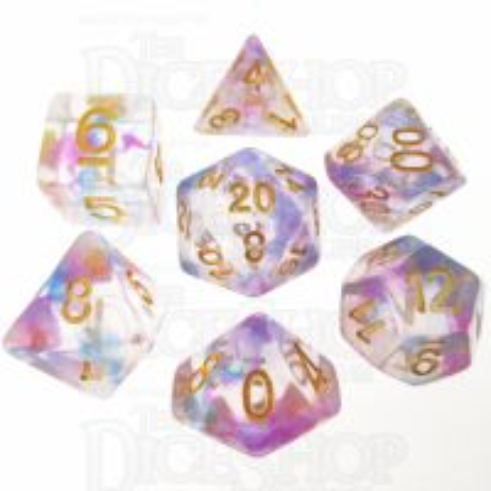 TDSO Pearl Swirl Blue & Purple 7 Dice Polyset