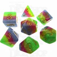 TDSO Layer Green Yellow Rose & Blue 7 Dice Polyset