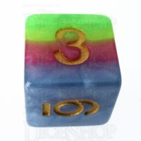 TDSO Layer Green Yellow Rose & Blue D6 Dice