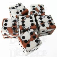 TDSO Turquoise White Synthetic Stone with Engraved Spots 16mm 6 x D6 Dice Set