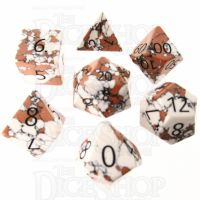 TDSO Turquoise White Synthetic Stone with Engraved Numbers 16mm 7 Dice Polyset