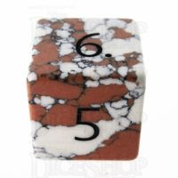 TDSO Turquoise White Synthetic Stone with Engraved Numbers 16mm D6 Dice