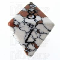 TDSO Turquoise White Synthetic Stone with Engraved Numbers 16mm D8 Dice