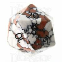 TDSO Turquoise White Synthetic Stone with Engraved Numbers 16mm D20 Dice