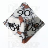 TDSO Turquoise White Synthetic Stone with Engraved Numbers 16mm Percentile Dice