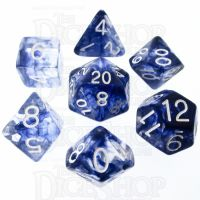 Role 4 Initiative Diffusion Blue Ink & White 7 Dice Polyset