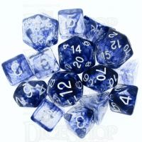 Role 4 Initiative Diffusion Blue Ink & White 15 Dice Polyset