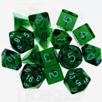 Role 4 Initiative Translucent Green & Blue 15 Dice Polyset
