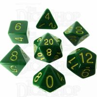 Role 4 Initiative Opaque Green & Gold 7 Dice Polyset