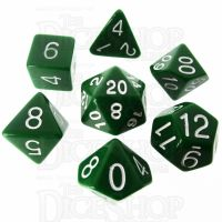 Role 4 Initiative Opaque Green & White 7 Dice Polyset