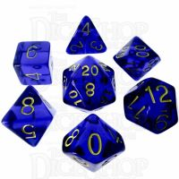Role 4 Initiative Translucent Blue & Gold 7 Dice Polyset