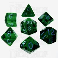 Role 4 Initiative Translucent Green & Blue 7 Dice Polyset