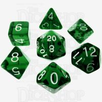 Role 4 Initiative Translucent Green & White 7 Dice Polyset