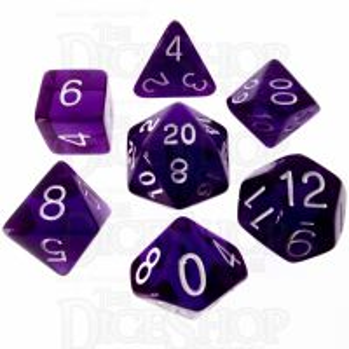 Role 4 Initiative Translucent Purple & White 7 Dice Polyset