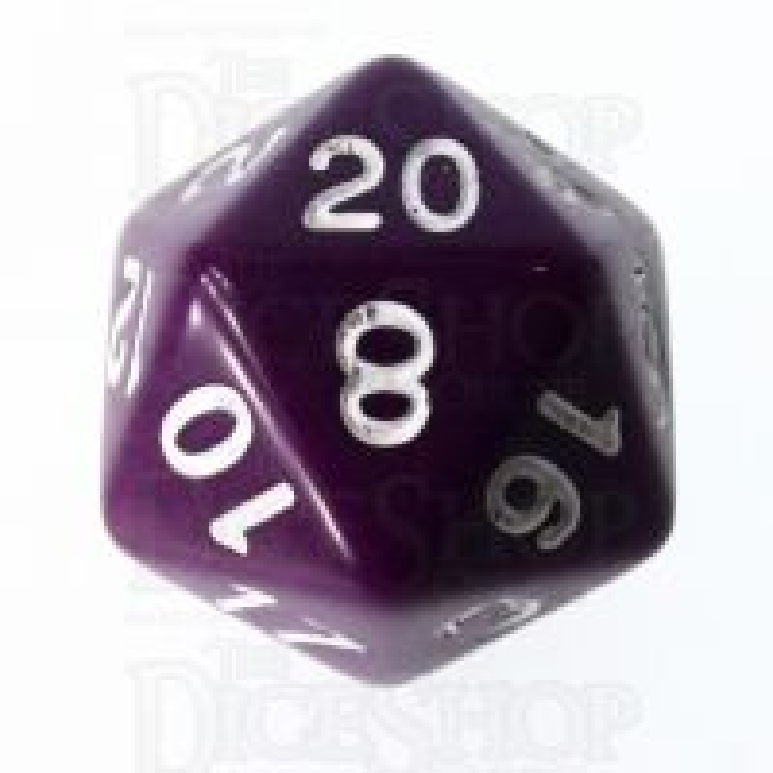 Role 4 Initiative Opaque Purple & White D20 Dice