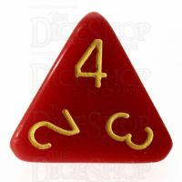 Role 4 Initiative Opaque Red & Gold D4 Dice