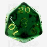 Role 4 Initiative Translucent Green & Gold D20 Dice