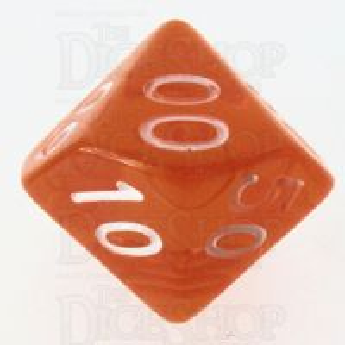 Role 4 Initiative Translucent Orange & White Percentile Dice