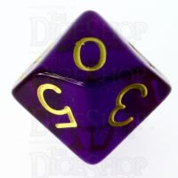 Role 4 Initiative Translucent Purple & Gold D10 Dice