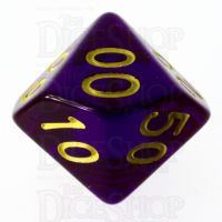 Role 4 Initiative Translucent Purple & Gold Percentile Dice