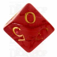 Role 4 Initiative Translucent Red & Gold D10 Dice