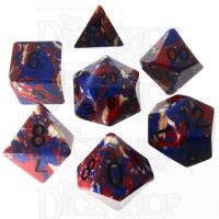 TDSO Turquoise Multi Fire Synthetic 16mm Stone 7 Dice Polyset