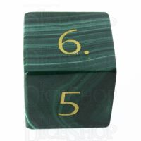 TDSO Malachite with Engraved Numbers 16mm Precious Gem D6 Dice