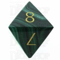 TDSO Malachite with Engraved Numbers 16mm Precious Gem D8 Dice