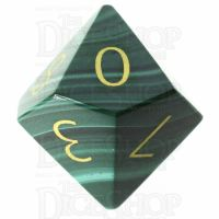 TDSO Malachite with Engraved Numbers 16mm Precious Gem D10 Dice