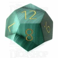 TDSO Malachite with Engraved Numbers 16mm Precious Gem D12 Dice