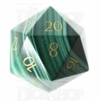 TDSO Malachite with Engraved Numbers 16mm Precious Gem D20 Dice
