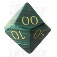 TDSO Malachite with Engraved Numbers 16mm Precious Gem Percentile Dice