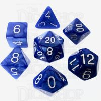 Role 4 Initiative Marble Blue & White 7 Dice Polyset
