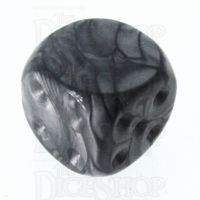 TDSO Pearl Silver Blank Faced Uninked D6 Spot Dice
