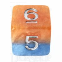 Halfsies Pearl Fire & Dice Flame Orange & Frost Blue D6 Dice