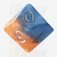 Halfsies Pearl Fire & Dice Flame Orange & Frost Blue D10 Dice