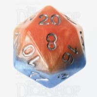 Halfsies Pearl Fire & Dice Flame Orange & Frost Blue D20 Dice