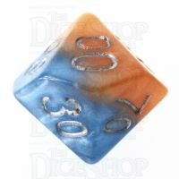Halfsies Pearl Fire & Dice Flame Orange & Frost Blue Percentile Dice