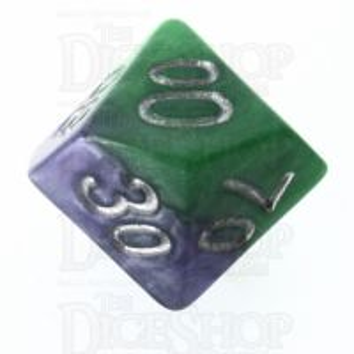 Halfsies Pearl Joker Puzzling Purple & Grin Green Percentile Dice