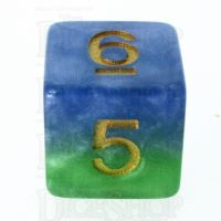 Halfsies Pearl Mother Earth Land Green & Sea Blue D6 Dice