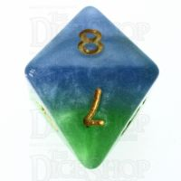 Halfsies Pearl Mother Earth Land Green & Sea Blue D8 Dice