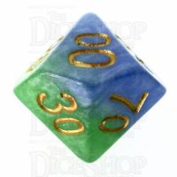 Halfsies Pearl Mother Earth Land Green & Sea Blue Percentile Dice