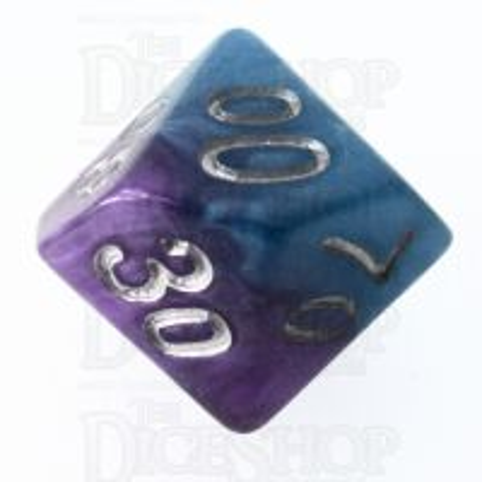 Halfsies Pearl Psionic Combat Violet & Cyan Percentile Dice