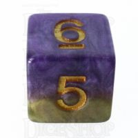 Halfsies Pearl Queens Royal Purple & Soft Gold D6 Dice