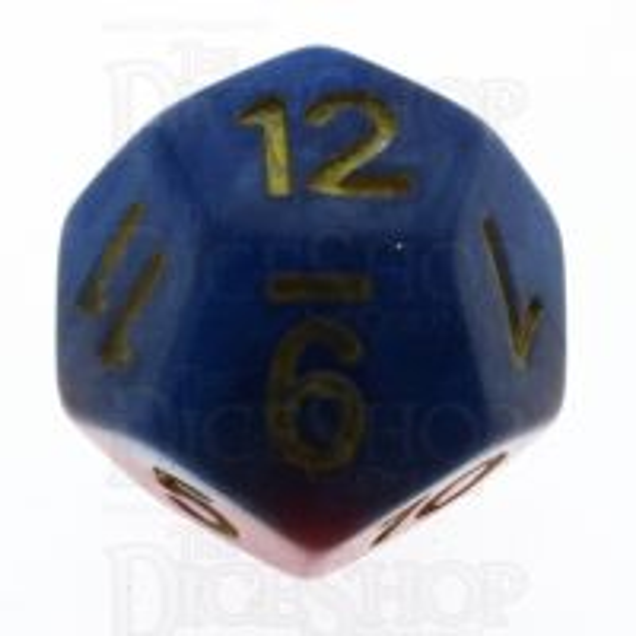 Halfsies Pearl Superdice Super Blue & Heroic Red D12 Dice