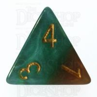 Halfsies Pearl Treant Forest Green & Bark Brown D4 Dice