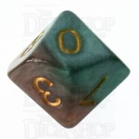 Halfsies Pearl Treant Forest Green & Bark Brown D10 Dice
